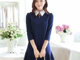 女装 秋季新款女韩版衬衫领气质修身百褶裙七分袖短裙连衣裙
