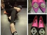 欧美2014春款新款羊皮水钻女鞋真皮小尖头平跟平底单鞋浅口平底鞋