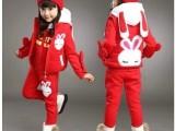 2014新款童装秋冬装 宝宝中大儿童女童套装加厚韩版卡通三件套