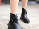 女鞋批发厂家直销2013欧美英伦尖头后拉链低跟短靴 复古鞋 机车