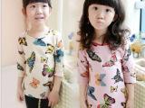 童T恤- 新款春装女童七分袖打底衫 蝴蝶图案儿童中长款T恤 韩版
