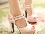粉色粗跟高跟凉鞋大码凉鞋 小码鞋 SN