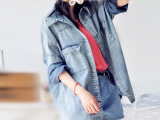 2014秋季品牌外贸原单女装 日式文艺纯棉女式衬衫牛仔外套批发