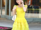 2014夏季新款 韩版女装 圆领包袖欧根纱公主裙 连衣裙 一件代