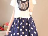 2014夏新款小清新可爱猫咪头两件套波点vintage复古连衣裙