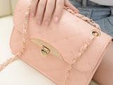 新款韩版绣线桃心OL菱格带钻链条单肩包手提女包批发代销一件代发