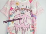 2014夏季新款女装日本原宿风甜美粉嫩软妹子字母短袖T恤批发代发
