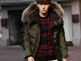 男装羽绒棉衣男加厚韩版中长款冬装外套 高档男式羽绒棉服 真毛领