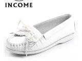 INCOME时尚女鞋批发流苏小白鞋淘宝爆款平底女鞋真皮单鞋