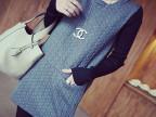 韩版2014秋冬新款打底衫 夹棉针织袖口袋百搭加厚中长款T恤女