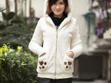 批发冬季韩国新款毛毛外套 女式毛绒外套 加厚大码中长款外套女