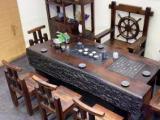 张家界老船木茶桌实木龙骨茶桌沉船木茶台中式复古船木茶几