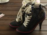 外贸原单大牌高跟高帮帆布潮流彩色牛仔硫化布鞋批发增高帆布鞋