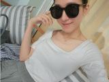 【YESWOMNE】小宜韩版女装新款夏装 方领百搭弹力修身短袖t