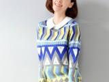 2014秋冬新款针织衫女韩版女装宽松学院风菱形图案套头毛衣女