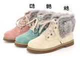 新款女靴厚底短靴系带及踝靴毛绒加厚雪地靴子裸靴
