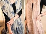 新款巴厘纱青花瓷围巾秋冬季空调防晒保暖两用超长围巾披肩