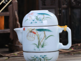 厂家直销 手绘陶瓷快客杯茶具套装特价青瓷礼品功夫旅行茶具定制