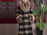 蝶恋2014冬装新款  超大貉子毛领羊毛呢子大衣 复古格子毛呢外