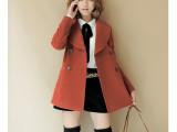 2013秋冬新款女装韩版修身风衣双排扣羊毛呢子大衣 外套批发厂家