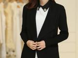 2014韩版秋季新款 大翻领修身显瘦中长款毛呢大衣 女外套