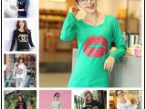 2015秋季女装新款韩版宽松大码长袖蝙蝠袖T恤精梳棉印花打底衫女
