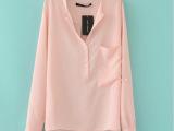 2013新款欧美简约雪纺衫经典百搭流行款前短后长雪纺衬衫女