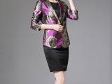 2015秋季女装新款休闲玫紫红拼香槟金提花修身时尚小西装女短外套