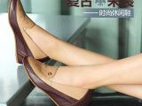 新款内外全真皮休闲坡跟拼色烧花女单鞋 舒适内增高鞋
