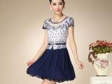 夏季新款时尚中老年连衣裙韩版气质蕾丝妈妈装加大码雪纺连衣裙