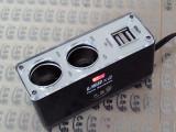 巴思奇双USB一拖二点烟器CL22 双USB车载充电器一分二厂家