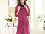 2014秋装新 韩版女装 长袖圆领单排扣纯色 时尚长款毛衣外套7