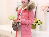 2014冬装新款羽绒服桃皮绒修身中长款大码女装韩版羽绒棉棉衣外套