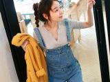 2015韩国代购专柜新款韩版女装时尚 吊带牛仔背带短裤女潮