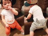 2014新童装儿童夏装韩版男童女童猫咪短袖t恤套装婴幼儿XZ65