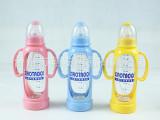 小淘气标准口径有柄防胀气/防烫/防摔自动吸管晶钻玻璃奶瓶