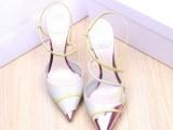 工厂直销女鞋批发2014春夏新款欧美奢华大牌尖头细跟高跟真皮凉鞋