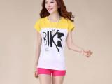 2014夏装新款 韩版女装 拼接撞色宽松百搭短袖打底衫T恤上衣8