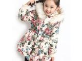 女童外套秋冬季款加厚中大童碎花中长款韩版棉袄毛领保暖大衣服潮