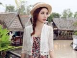 春秋韩版女装夏季女外套短薄小坎肩防晒衫蕾丝百搭开衫小披肩