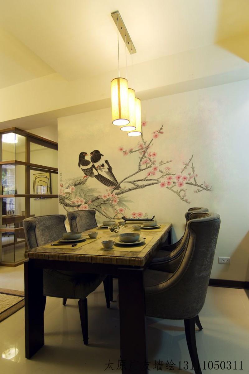 太原饭店手绘墙画 太原餐厅墙绘太原装修饭店背景墙绘