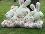 供应新款毛绒玩具害羞兔眯眼兔 田园碎花love兔