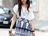 韩版 孕妇装 白底蓝色图案 长版 上衣一件代发一件起批