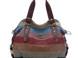 2014新款欧美潮流时尚帆布拼接条纹包手提单肩斜跨女士包包包