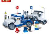 正品 邦宝乐高式 拼装小颗粒积木益智儿童玩具警察拖车队8345