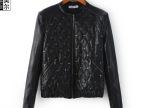 帕思美尔 2014新款新款欧美女式上衣 薄棉机车皮衣长袖外套批发