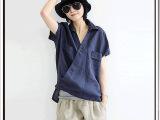 新款原创棉麻短袖衬衫女春 文艺范亚麻半套头打底衬衫T恤A36#
