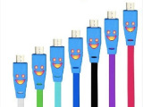厂家批发 发光笑脸线 苹果4iphone5安卓小米三星数据线手机
