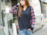 2014韩国新品 女装韩版 时尚休闲拼格长袖棉薄卫衣T恤衫 潮