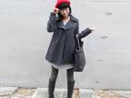 女装批发秋冬新款韩版大码风衣毛呢外套双排扣翻领毛呢大衣F635